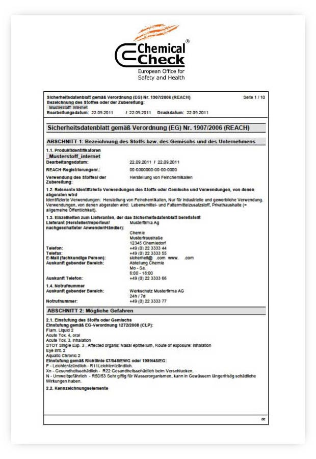 Chemical Check safety data sheets
